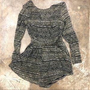Kookai Silk Romper Shorts Black Green Abstract